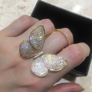 Jewelry - Rhinestone Movable Butterfly Cubic Zirconia Gold